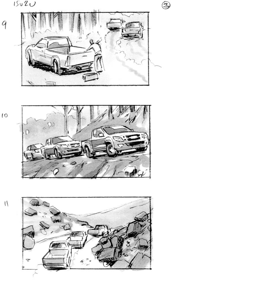 douglas ingram, storyboard art, isuzi car commercial