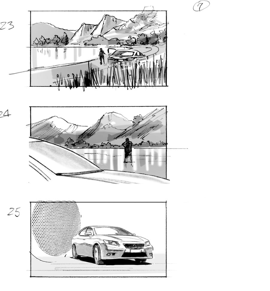 douglas ingram, storyboard art, lexus car commercial