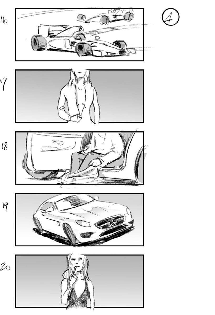 douglas ingram, storyboard art, mercedes car commercial
