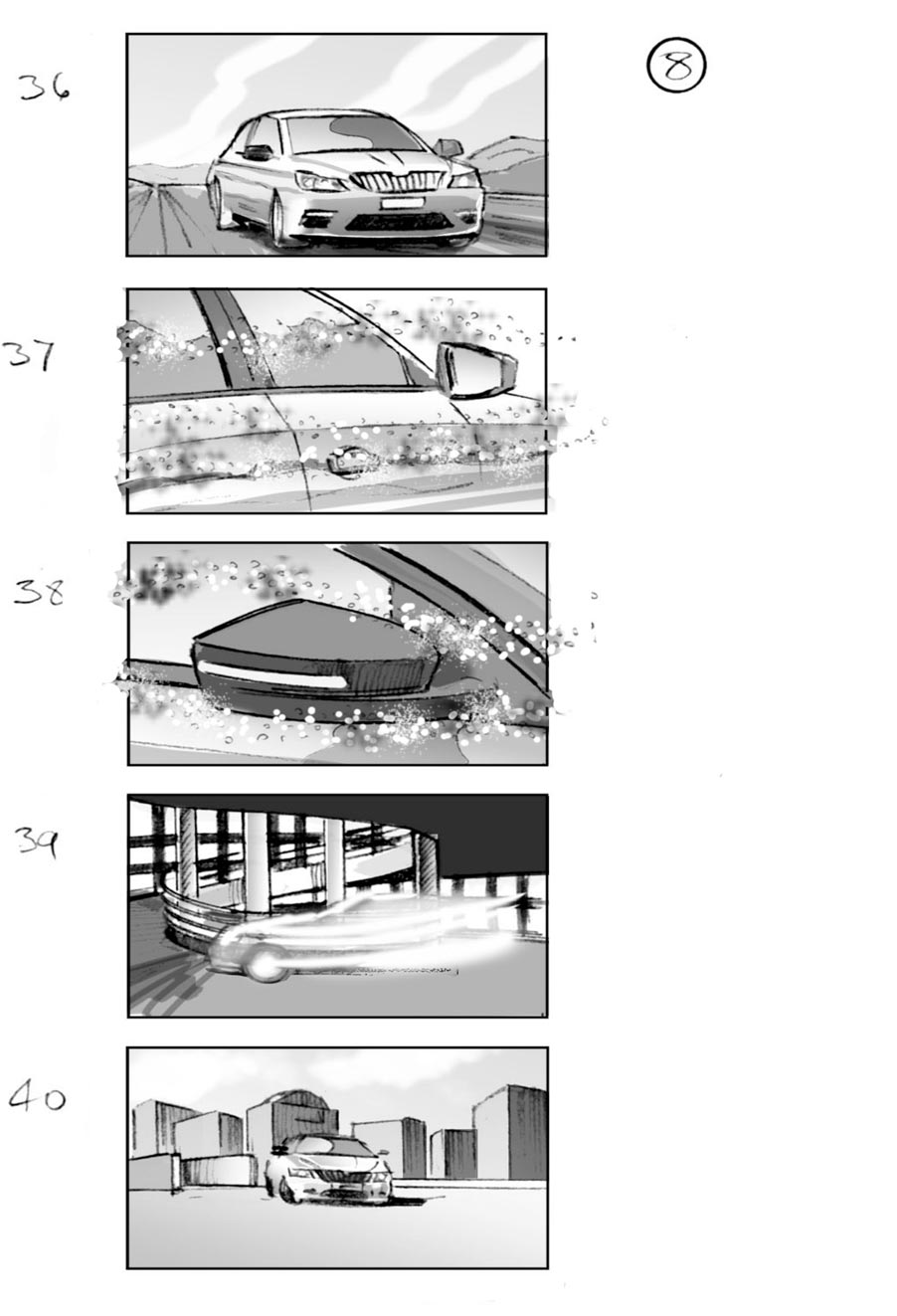 douglas ingram, storyboard art, skoda commercial
