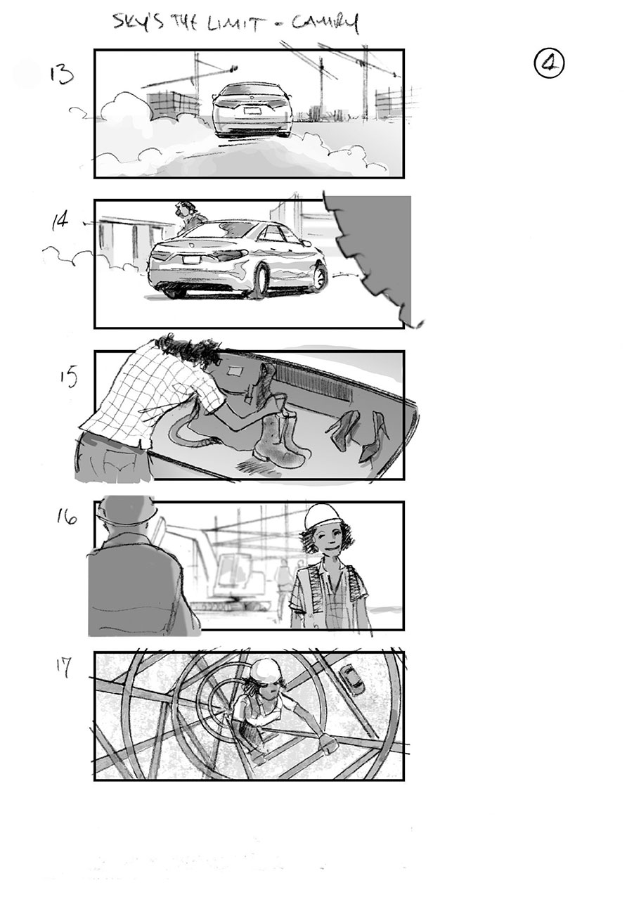 douglas ingram, storyboard art, toyota camry car commercial