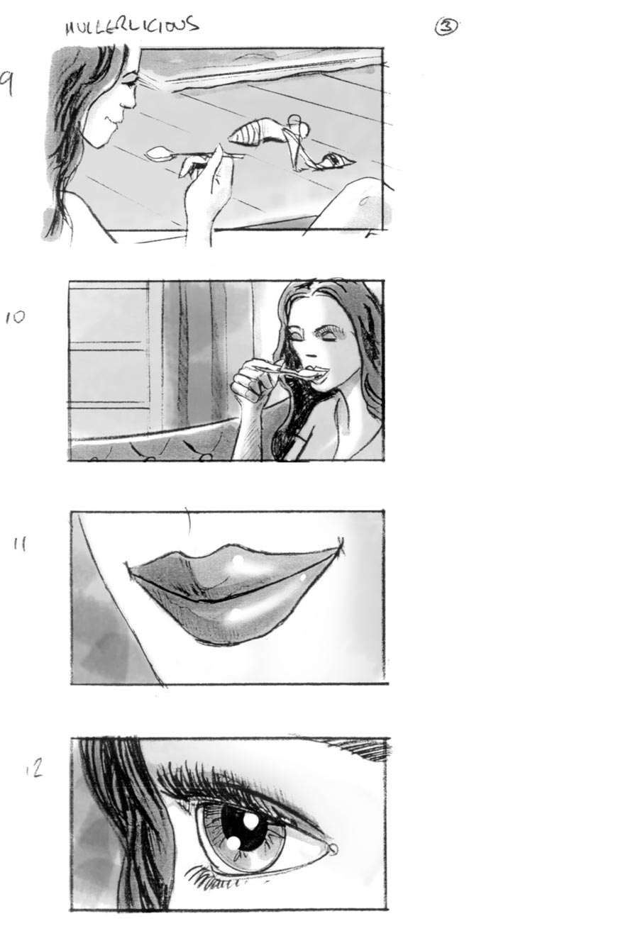 douglas ingram, storyboard art, mullerlicious commercial